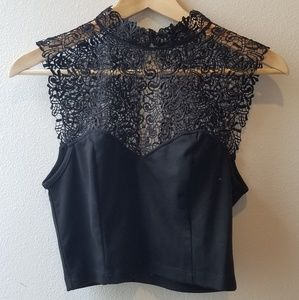 Lace mock neck crop top sweetheart sz M